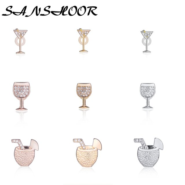 SANSHOOR Coconut Drink Wine Glass Martini Slide Charms Fit Keys Chain Leather Keepers Wrappable Bracelets Pendant Necklace 9Pcs