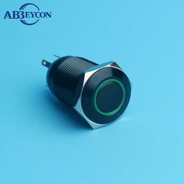 16mm Momentary Ring Illuminated Push Button Switch Led Lamp Black Anodized Metal Shell 16Mm Pin Terminal Car Engine Start Switch
