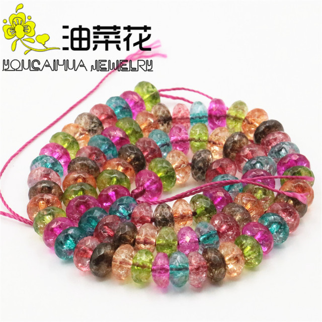 """Natural 5x8mm Faceted Multicolor Tourmaline Loose Beads For Necklace Bracelet Hand Made Fashion Jewelry Making Design 15""""xu78"""