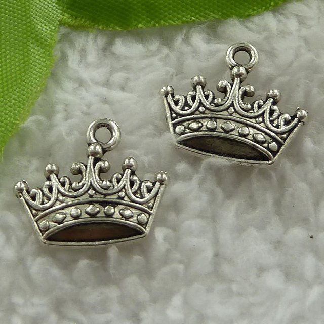 340 pieces antique silver crown charms 18x16mm #3124