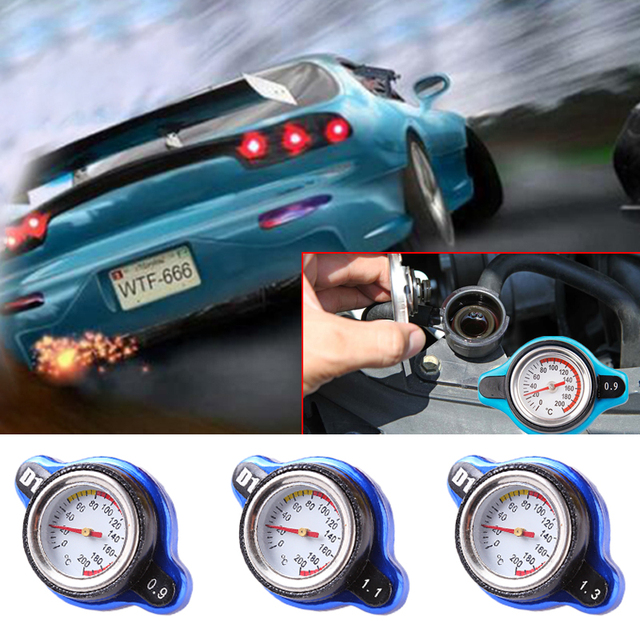 Universal 0.9/1.1/1.3 Bar Small Head Water Tank Radiator Cap w/ Water Temp Gauge
