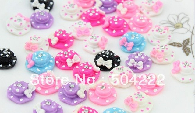 200pcs polka dots sun hat with cute bow rhinestone cabochons,flatback charm for hair accessories , kids jewelry summer hat