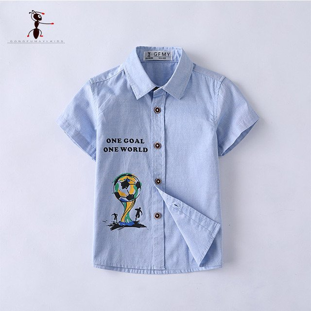 Kung Fu Ant 2018 Short Sleeve Shirts Summer for Boys Cotton Cartoon Button Letter Clothing Blouses for Stu3024