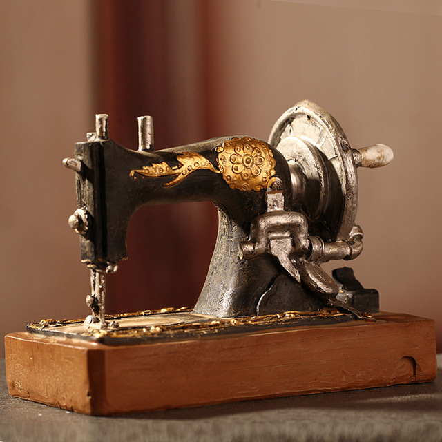 American country style old sewing machine resin craft vintage home decoration accessories
