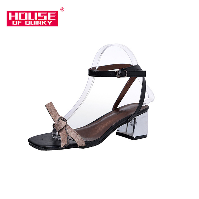 2019 Spring New Fashion Open-toed Women Shoes Leisure Shallow Mouth Female Sandals Outdoor Suede Shoes Buckles knot Size35-39