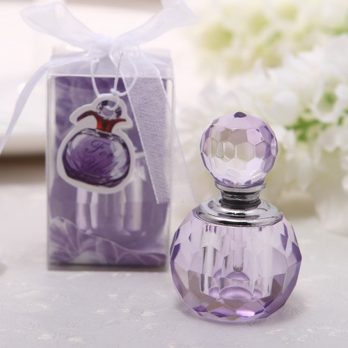 50Pcs Free Shipping Crystal Wedding Favour Pink Purple Perfume Bottle Gift For Wedding Souvenir For Guest Bomboniere Nascita