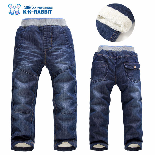 High quality Winter Thick Fashion Boys Pants Kids Trousers Girls Baby Children Jeans