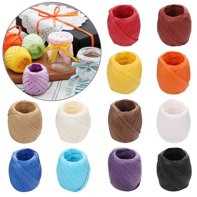 16 Colors 20m/roll DIY Raffia Ribbon Cord Rope For Palm Packaging Paper Rope Gift Box Packing Crafts Wedding Party Decorations