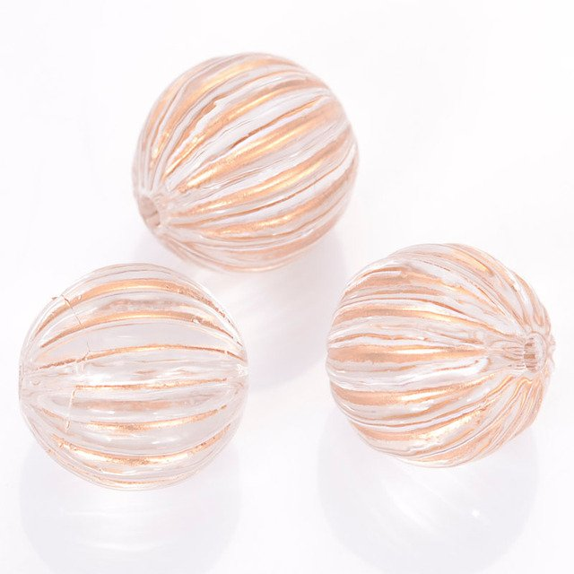 Miasol 100 Pcs 12 MM Retro Vintage Antique Design Acrylic Stripe Round Spacers Loose Beads For Diy Handmade Jewelry Making