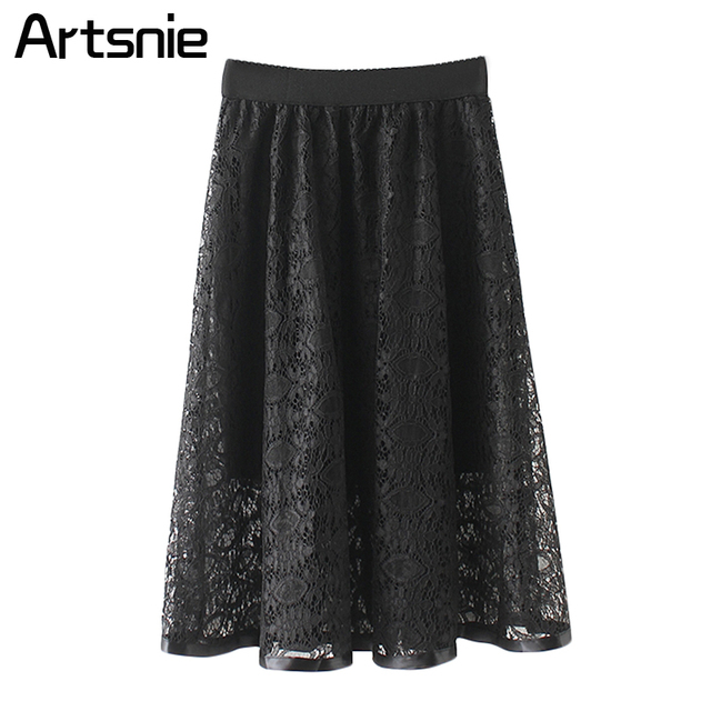 Artsnie Black Casual Streetwear Mesh Maxi Long Skirt Women Spring 2018 High Waist Ladies Pleated Elegant Skirts Jupe Femme