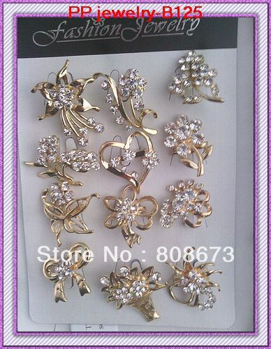Wholesale Cheap 60PCS/LOT Clear Crystal Mixed Designs Gold Color Mini Brooch,Wedding Bouquet