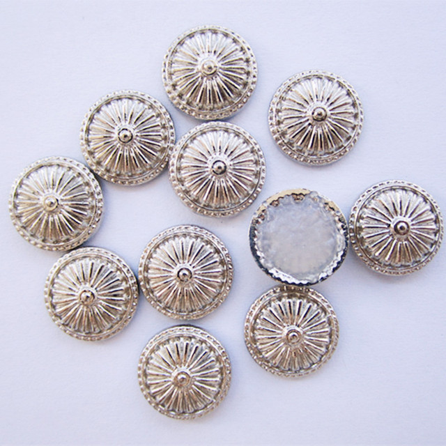 SINUAN Jeans Rivets Hot-Fix Spike Studs Round Rivet Set 12Mm Nickel-Free White Round Spikes Plating Metal Studs For Bags