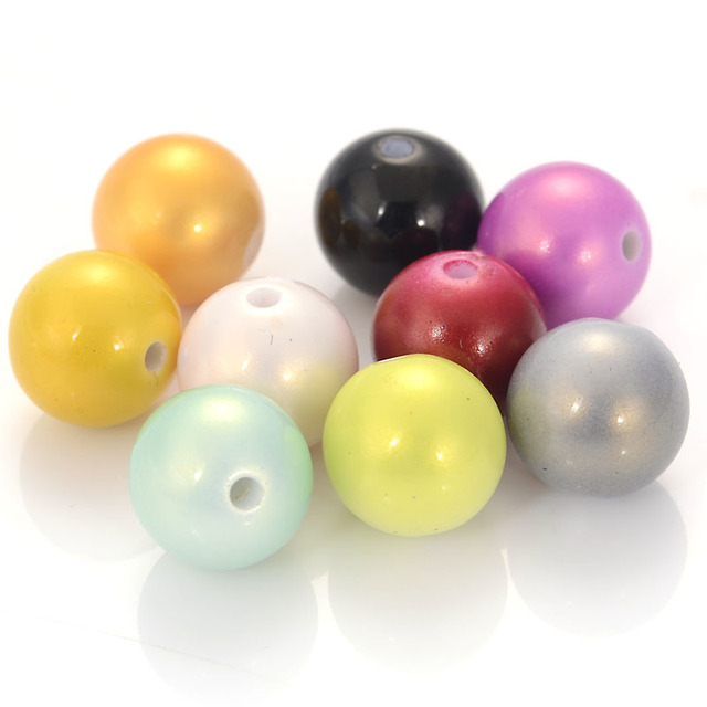 Miasol 20 Pcs Shinny Sprayed Painted Acrylic Round Spacers Charms Beads For Diy Jewelry Making