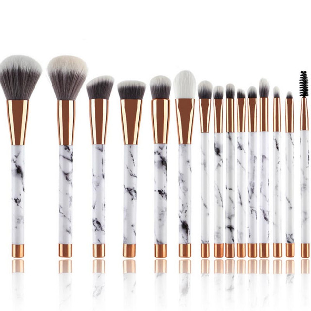 AiceBeu 7/10/11/15pcs Upgrade Marble Patten Makeup Brush Powder Foundation Eyeshadow Lip Make up Brushes Set Marbling Brushes