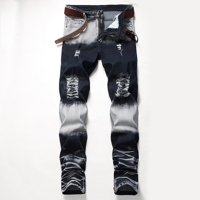 New Men Ripped Jeans Color Matching Design Creative Personality Elastic Pants Straight Slim Leg Zipper Decoration Casual Jeans