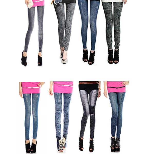Women Leggings Faux Denim Jeans Slim Sexy Pocket Printing Spring Leggings Casual Pencil Pants Fitness Women Clothing 2019