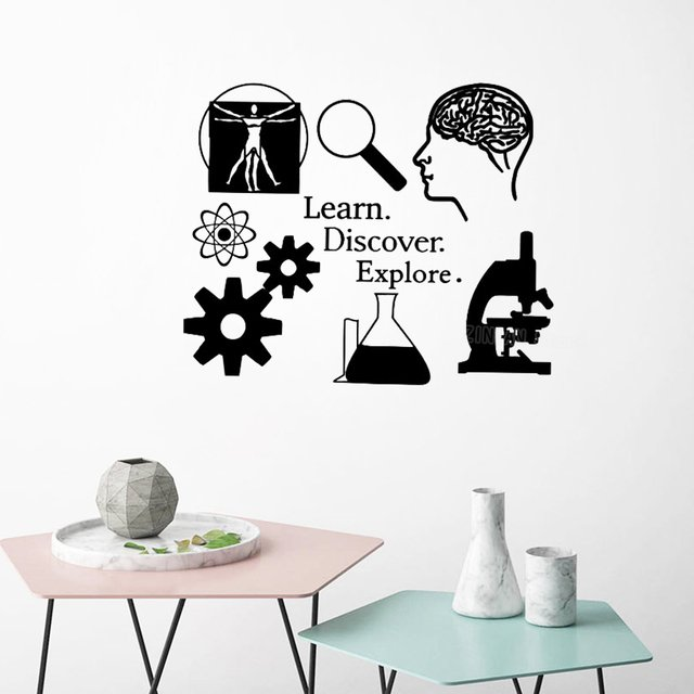 Science Decal Learning I love Science Classroom Decor Scientist Decals for Teacher Learn Discover Explore Quote Stickers S444