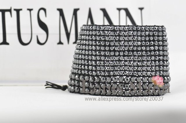 new hematite large thread a needle program bracelet Wrap Bracelet on Leather