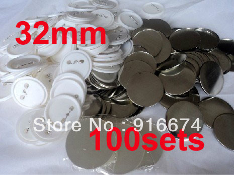 Free shipping Discount 32mm 100 Sets Professional Badge Button Maker Pin Back Pinback Button Supply Materials