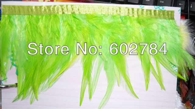 """Free Shipping 10meters Height 4-6"""" (8-15cm) Green Rooster Hackle Feather tail rooster feather Trimming Fringe"""