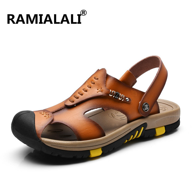 Ramialali Mens Sandals Genuine Leather Summer Slipper New Beach Men Casual Shoes Outdoor Sandals Walking Sandals for Man