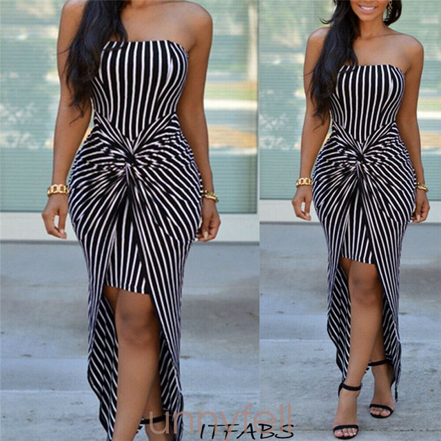 2019 Fashion Women Summer Striped Slim Off Shoulder Sexy Dress Party Long Strapless Maxi Dress gown Dresses New Arrival