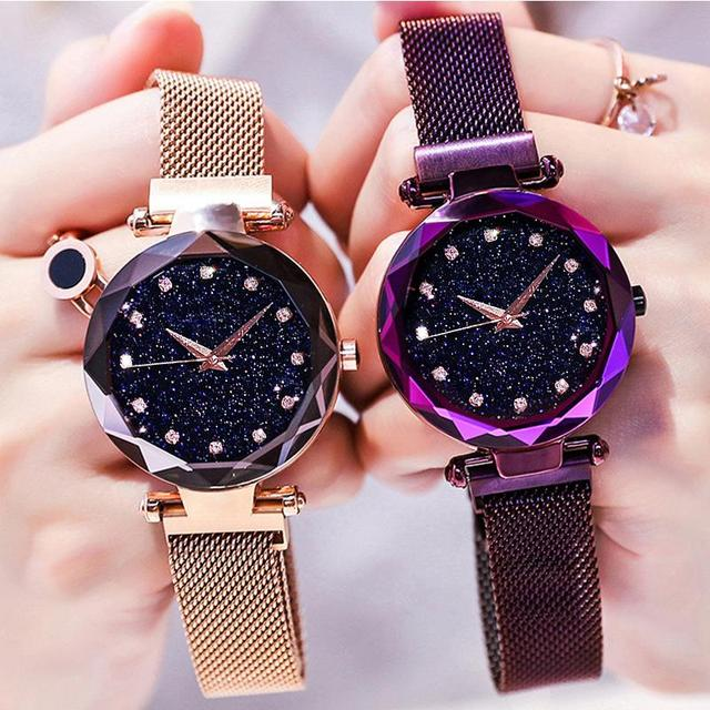 Luxury Rose Gold Women Watch Starry Sky Magnetic Mesh Band Quartz Wristwatch Diamond Watches relogio feminino montre femme 2018