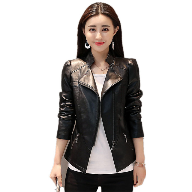 2019 PU Leather Jacket Motorcycle Faux Leather Jackets Women Black Soft Leather Coat Female Spring Autumn Cloth Plus Size 6XL A1