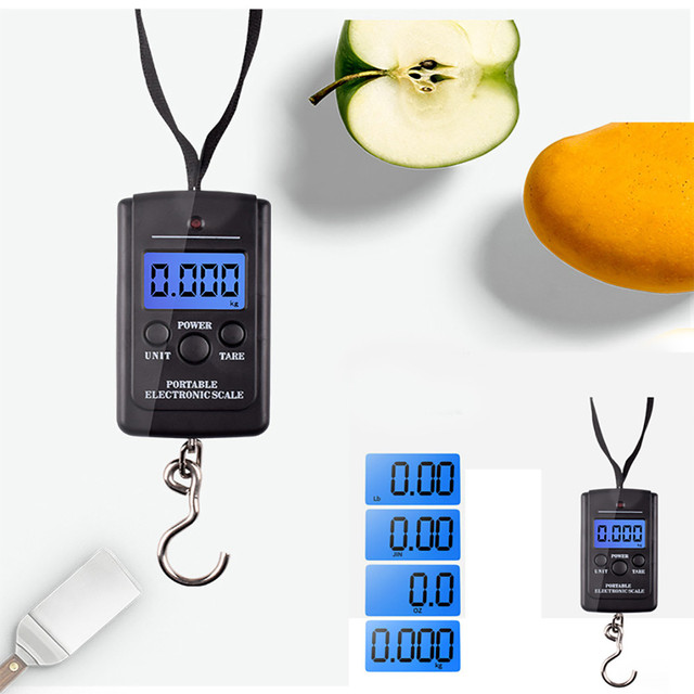 10g 40kg Pocket Fishing Scale Travel luggage Scale Digital Weight precision Hand Held Portable Hanging Scales electronic @D
