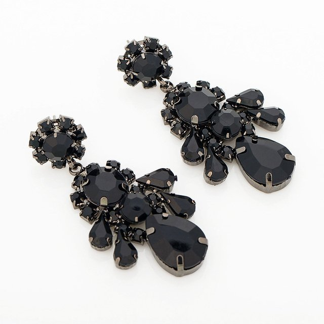 Hot Sale And Free Shipping High Quality Fashion classic style black water rhinestone Crystal drop earrings for wome #E091