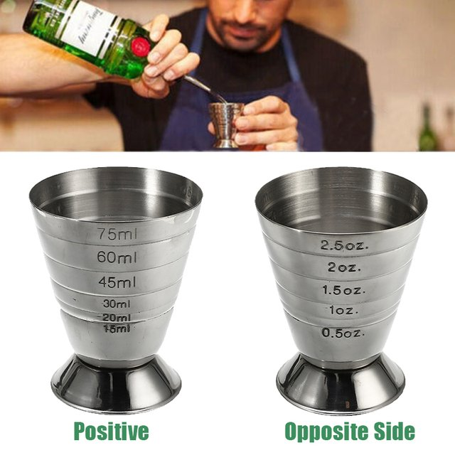 Stainless Steel Measure Cup 75ml 3 In 1 Cocktail Tools Bar Jigger Cup w/ml/oz Tbsp Measurement Unit for Bars Making Mixed Drinks
