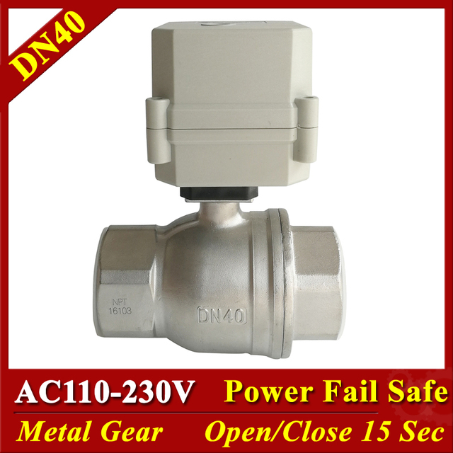 "Tsai Fan AC110V-230V Stainless Steel 1-1/2"" Normally Closed Electric Valve 2 Way DN40 Normally Open Valve 2/5 Wires"