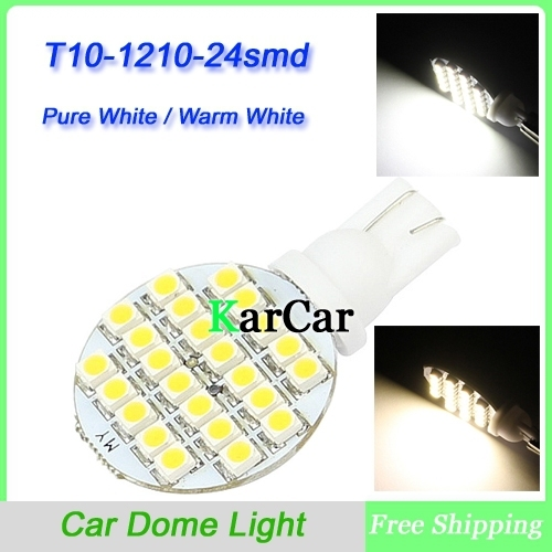 12V T10 24 SMD 1210 LED Dome Light,W5W 194 168 Car Width Lamp 921 Side Bulb 912 161 Instrument Light Pure White/Warm White