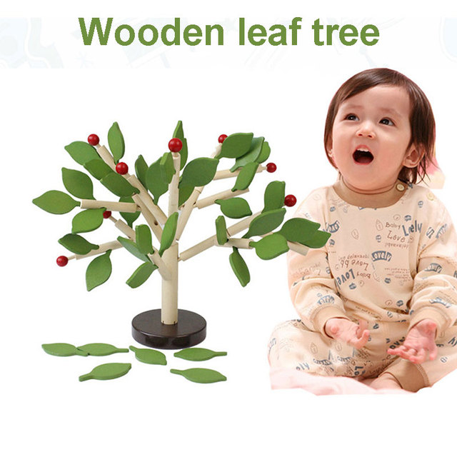 Building Montessori Assembled Tree Wood Green Leaves 3D Puzzle Interesting Early Educational Toy Children Learning Toy