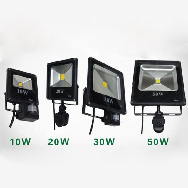 (20pcs/lot)  50W 30W 20W 10W DC 12V 24v  AC 110V 220V LED Flood Light Ourdoor Square Lamp PIR Motion Sensor Induction