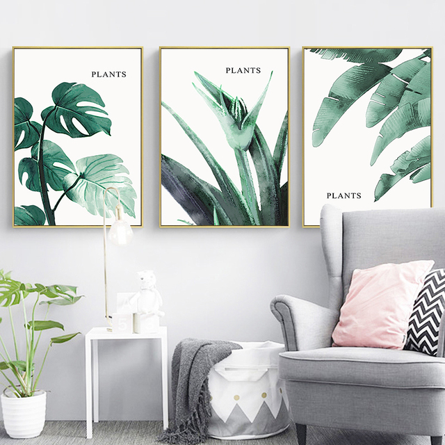 Green Plants Leaves Wall Art Canvas Painting Nordic Poster Posters And Prints Wall Pictures For Living Room Home Decor Unframed