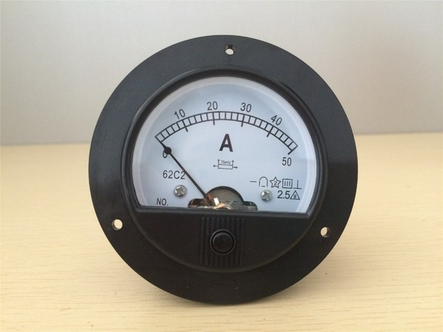 62C2 Round Analog Amp Panel Meter Current Ammeter DC 0-50A