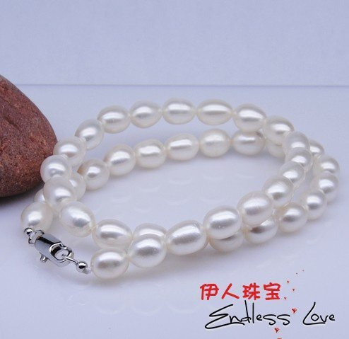 8-9mm Natural Pearl Necklace Hot Christmas Promotion!!!Excellent Gift/Present for Lady +Free Shipping 2pcs/lot