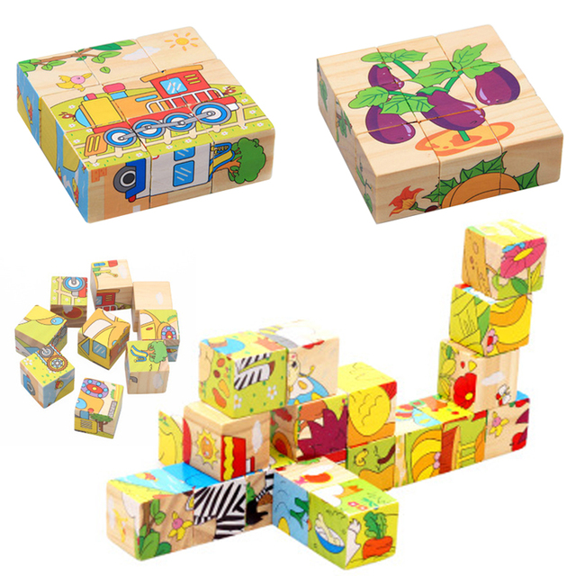 2019 Interesting Wooden Cube 9pcs/Set Gaining Skill Puzzle Toy for Animal Puzzle Drop Shipping