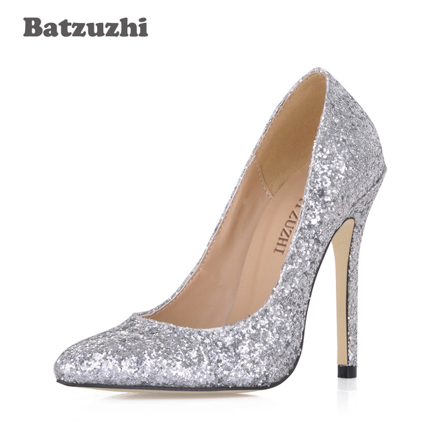 Batzuzhi 2018 New andmade Women Shoes Sexy 12cm Women Shoes High Heel Pointed Toe Silver Glitter Bling Wedding Shoes Women Party