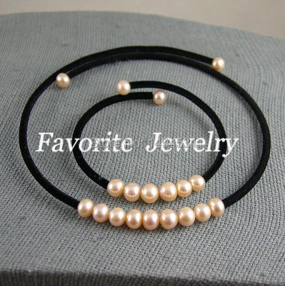 Free Shipping - 8-9mm AA Pink Color Natural Freshwater Pearl Jewelry Set Necklace And Bracelet Wholesale Pearl Jewelry
