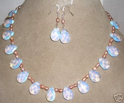 Genuine Beautiful Pink pearl & opal necklace earring Wonderful Nobility Fine Wedding Jewelry Lucky Women's