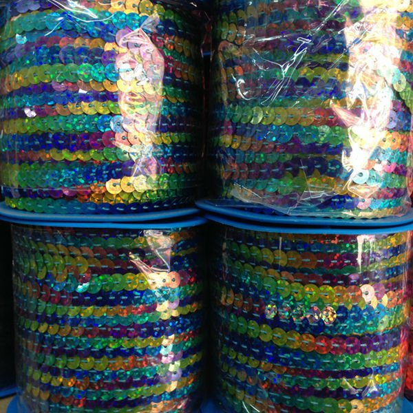 High-temperature ( 6MM/w 100Yards/pc ) PVC Colorful Spangle Sequins Paillette String Jewelry Cord & Rope Jewelry Findings
