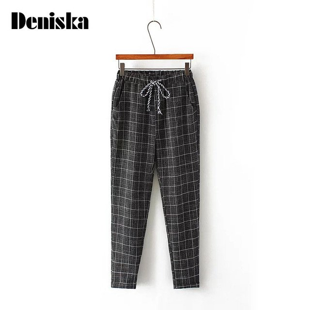 DENISKA Brand Summer New Fashion Women Casual Pants Clothes Print Plaid Female Harem Pants Loose Cheap Clothing