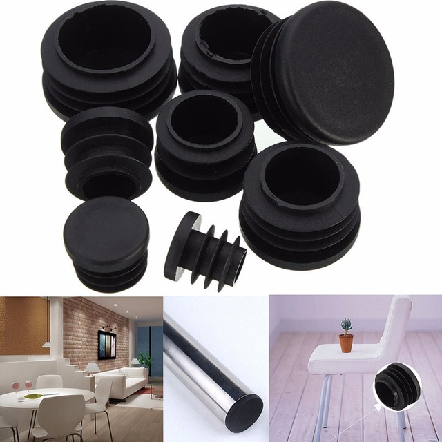 10Pcs Black Plastic Furniture Leg Plug Blanking End Caps Insert Plugs Bung For Round Pipe Tube Furniture Accessories 8 Sizes