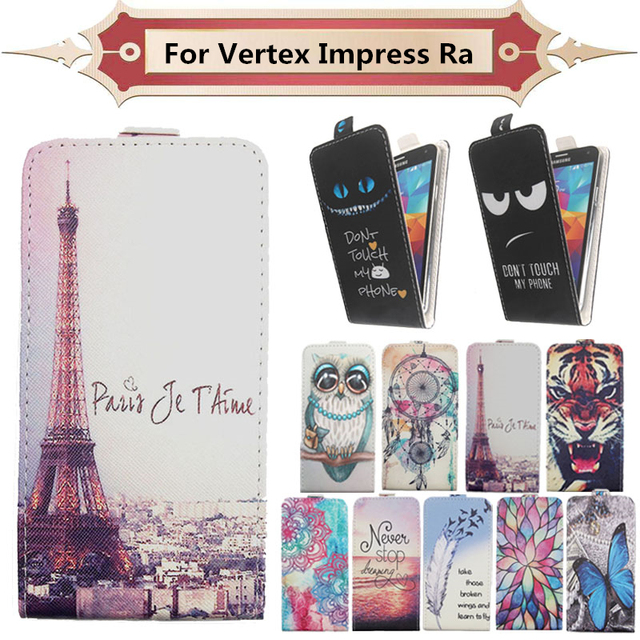 Fashion 11 Colors Cartoon Pattern Up and Down Flip PU Leather Case For Vertex Impress Ra