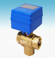 Free Shipping CWX-20 Brass 1/2'' Mini Electric Ball Valve 3 Way 12V Water Treatment Control type CR01 or CR02