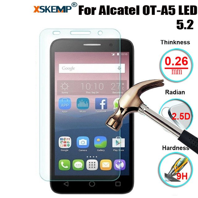 XSKEMP 9H Hardness Real Tempered Glass For Alcatel OT-A5 LED 5.2 0.26mm Scratch-Resistant Screen Protector Film Protective Cover