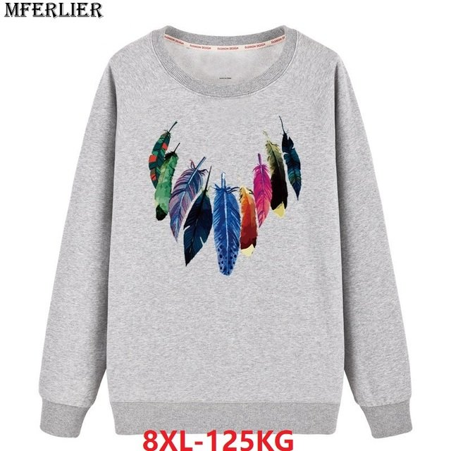 men casual Sweatshirts hipster 8XL large size big 6XL 7XL print cotton autumn homme pull over coat Sweatshirts for men o-neck