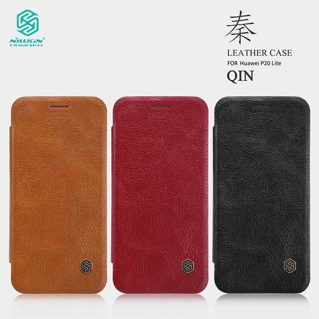 Nillkin for Huawei P20 Lite Leather Case Phone Bags Qin Series Genuine Luxury Cover for Huawei Nova 3e cases